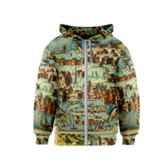 Medeival Ancient Map Fortress Kids  Zipper Hoodie