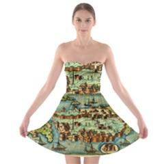 Medeival Ancient Map Fortress Strapless Bra Top Dress