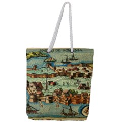 Medeival Ancient Map Fortress Full Print Rope Handle Tote (large)