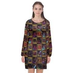 Kaleidoscope Pattern Abstract Art Long Sleeve Chiffon Shift Dress