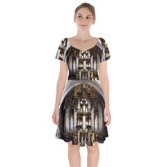 Organ Church Music Organ Whistle Short Sleeve Bardot Dress