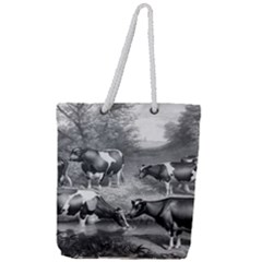 Holstein Fresian Cows Fresian Cows Full Print Rope Handle Tote (large)