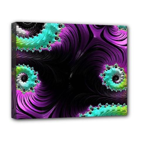 Fractals Spirals Black Colorful Deluxe Canvas 20  X 16