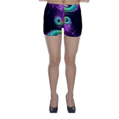 Fractals Spirals Black Colorful Skinny Shorts