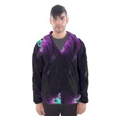 Fractals Spirals Black Colorful Hooded Wind Breaker (men)