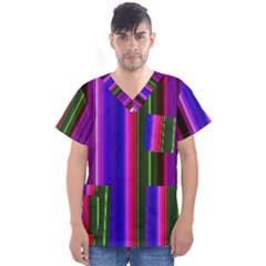 Abstract Background Pattern Textile 4 Men s V Neck Scrub Top