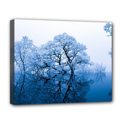 Nature Inspiration Trees Blue Deluxe Canvas 20  X 16