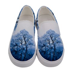 Nature Inspiration Trees Blue Women s Canvas Slip Ons