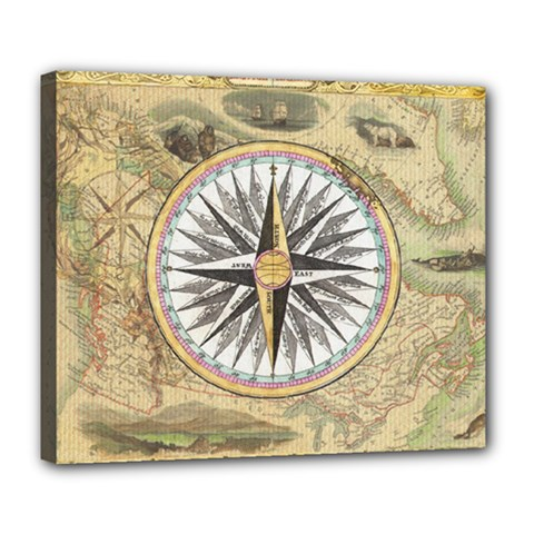 Map Vintage Nautical Collage Deluxe Canvas 24  X 20