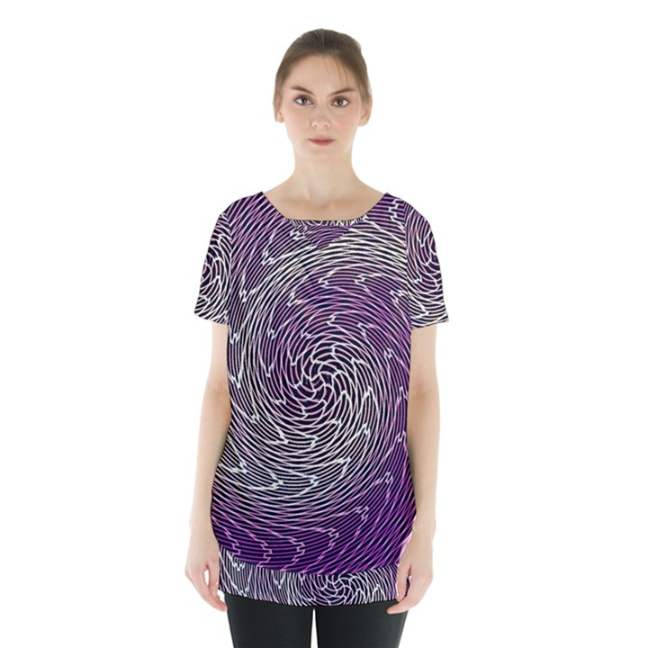 Graphic Abstract Lines Wave Art Skirt Hem Sports Top