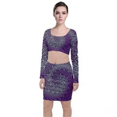 Graphic Abstract Lines Wave Art Long Sleeve Crop Top & Bodycon Skirt Set