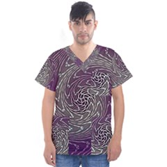 Graphic Abstract Lines Wave Art Men s V Neck Scrub Top