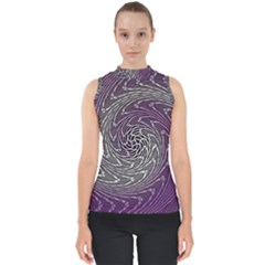 Graphic Abstract Lines Wave Art Shell Top