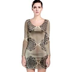 Flower Pattern Pattern Art Long Sleeve Bodycon Dress