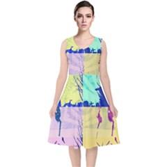Girlfriend  respect Her   V Neck Midi Sleeveless Dress