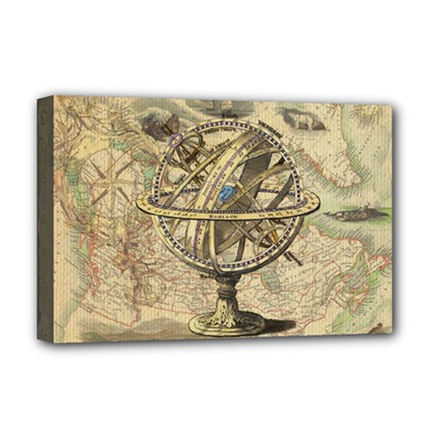 Map Compass Nautical Vintage Deluxe Canvas 18  X 12