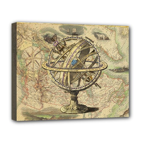 Map Compass Nautical Vintage Deluxe Canvas 20  X 16
