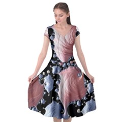 Fractal Art Design Fantasy Science Cap Sleeve Wrap Front Dress