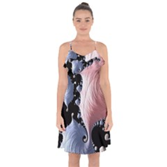 Fractal Art Design Fantasy Science Ruffle Detail Chiffon Dress