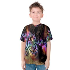 Fractal Colorful Background Kids  Cotton Tee