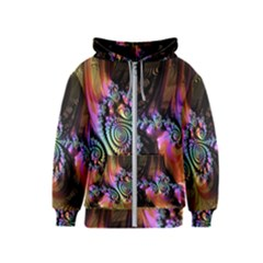 Fractal Colorful Background Kids  Zipper Hoodie