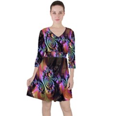 Fractal Colorful Background Ruffle Dress