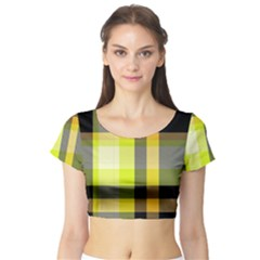 Tartan Abstract Background Pattern Textile 5 Short Sleeve Crop Top
