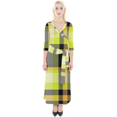 Tartan Abstract Background Pattern Textile 5 Quarter Sleeve Wrap Maxi Dress