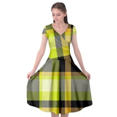Tartan Abstract Background Pattern Textile 5 Cap Sleeve Wrap Front Dress