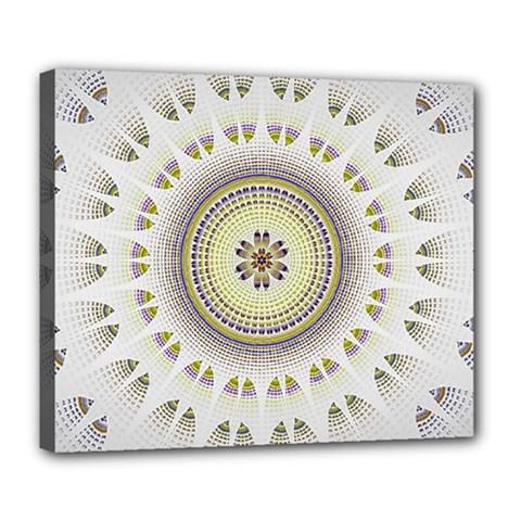 Mandala Fractal Decorative Deluxe Canvas 24  X 20
