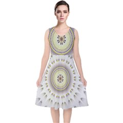 Mandala Fractal Decorative V Neck Midi Sleeveless Dress