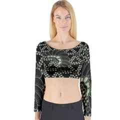 Batik Traditional Heritage Indonesia Long Sleeve Crop Top