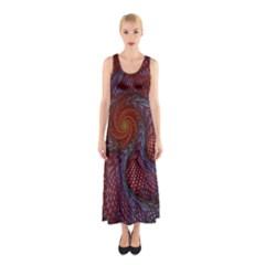 Fractal Red Fractal Art Digital Art Sleeveless Maxi Dress