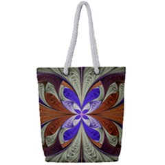Fractal Splits Silver Gold Full Print Rope Handle Tote (small)