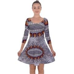 Fractal Fantasy Design Imagination Quarter Sleeve Skater Dress