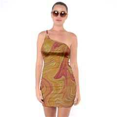 Texture Pattern Abstract Art One Soulder Bodycon Dress