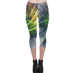 Fractal Art Paint Pattern Texture Capri Leggings