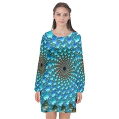 Fractal Art Design Pattern Long Sleeve Chiffon Shift Dress