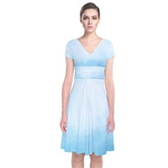 Ombre Short Sleeve Front Wrap Dress