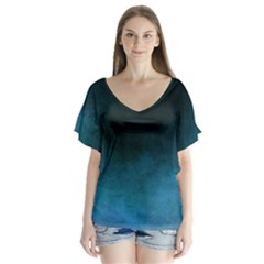 Ombre V Neck Flutter Sleeve Top