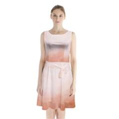 Ombre Sleeveless Waist Tie Chiffon Dress