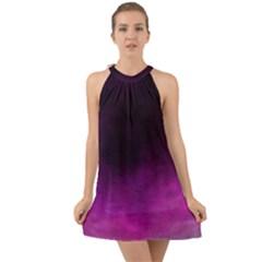Ombre Halter Tie Back Chiffon Dress