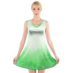 Ombre V Neck Sleeveless Skater Dress