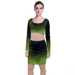 Ombre Long Sleeve Crop Top & Bodycon Skirt Set