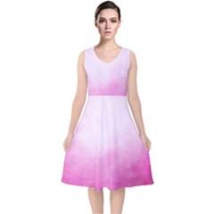 Ombre V Neck Midi Sleeveless Dress