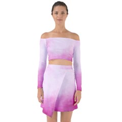 Ombre Off Shoulder Top With Skirt Set