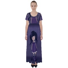 Dolly Girl In Purple High Waist Short Sleeve Maxi Dress