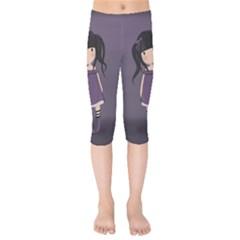 Dolly Girl In Purple Kids  Capri Leggings