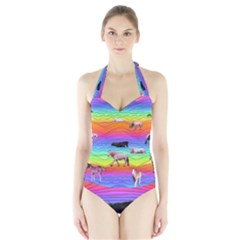Horses In Rainbow Halter Swimsuit