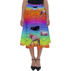 Horses In Rainbow Perfect Length Midi Skirt